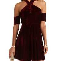 Cold Shoulder Crossover Velvet Dress by Charlotte Russe - Wine