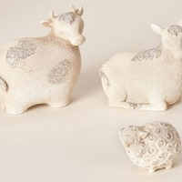 12 Glittered Animal Figurines - Donkeys, Sheep And Cows