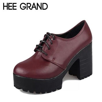 HEE GRAND British Style Women Boots High Heels Lace-Up Platform Ankle Boots Autumn Sexy Ladies Shoes Woman 2 Colors XWD2417