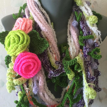 Free form crochet scarf with roses