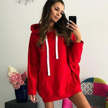 Oversized Hoodies Sweatshirts Autumn Winter Female Long Sleeve Women Red Blue Solid Girl Casual Pullover Sudadera Moletom