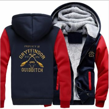 2018 autumn and winter models F9 GRYFFINDOR QUIDDITCH Harry Potter men's fleece hoodie casual zipper