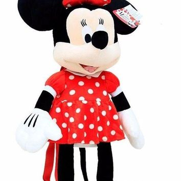 Minnie Mouse plush Doll backpack customs Bag with Red bow-Red