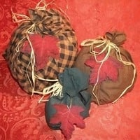 Set of Three Free-form Pumpkins Plaid Cotton Fabric Raffia Tied Fiber Filled Rustic Hand Crafted Fall Home Decor from A Vintage Addiction