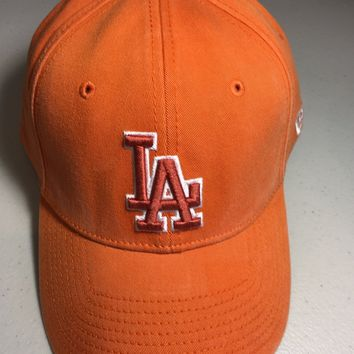NEW ERA LOS ANGELES DODGERS ORANGE CURVED BRIM HAT STRETCH FIT HAT MEDIUM/LARGE