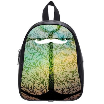 Green Black Anchor Mustache School Backpack Large