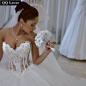 QQ Lover 2017 Wedding Dress Sexy Custom Made Vestido De Noiva See Through Back Pearls Wedding Dresses With Real Pictures