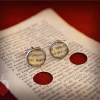 "Cufflinks sacred book page -  Unique  rare ""1800's antique book page"