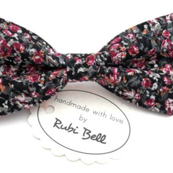 Bow Tie - floral bow tie - wedding bow tie - bow tie with dark red, black and grey flower pattern - man bow tie - men bow tie