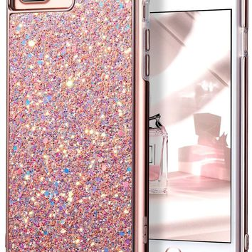 "iPhone 7 Plus Case,iPhone 6 Plus Case,ESR Glitter Sparkle Dual Layer Shockproof Hard PC Back[Support Wireless Charging]+TPU Inner Shell for 5.5"" iPhone 7 Plus/6 Plus(Rose Gold)"