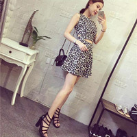 Luyao hollow flower print dress