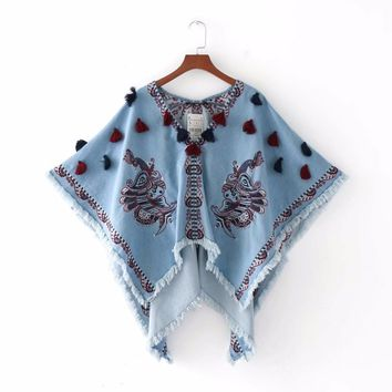 Fashion style jeans sequins embroidery tassels shawls cloaks coats