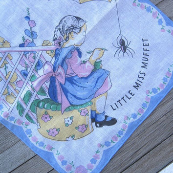 1950s Vintage Little Miss Muffet Handkerchief - Vintage Nursery Rhyme Hankie - Collectible Children's Novelty Hankie