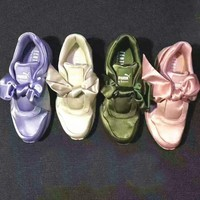 One-nice™  PUMA Piao Ma Lei Hai Na Bows Green/Pink Running Shoes Shoes