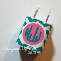 iPhone Wall Charger Chevron Monogram