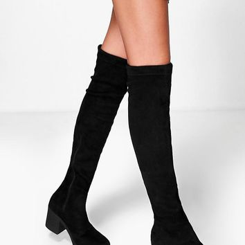Lara Cleated Stretch Over The Knee Boot | Boohoo