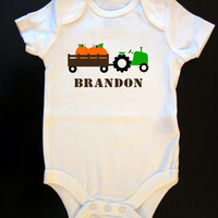 Pumpkin Tractor Personalized Name Halloween Fall Thanksgiving Onesuit or Toddler / Kid's T-Shirt