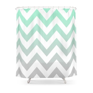 Society6 MINT GRAY CHEVRON FADE Shower Curtains