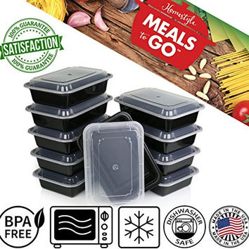 "Meals-to-Go Lunch Box Containers with Lids - BPA Free Plastic - Stackable, Reusable, Microwave Safe - Bento Lunch Box Sets - 10 Pack (38 ounce container with lid (6"" x 8.5"" x 2"")"