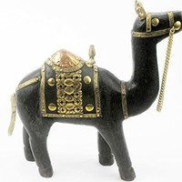 Carved Wood Camel Sculpture with Brass and Copper
