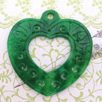 Burma carved jade pendant, green heart charm for necklace, earrings, gemstone beads for handcrafted jewels