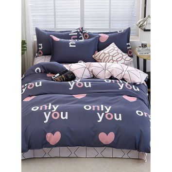 Letter & Heart Print Sheet Set