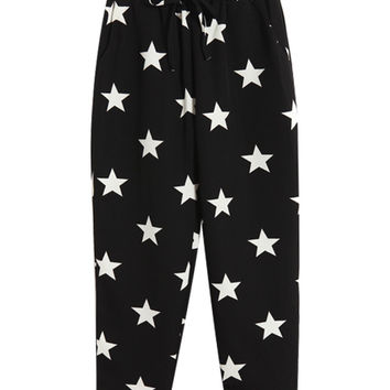 Black Star Printed Capri Pants