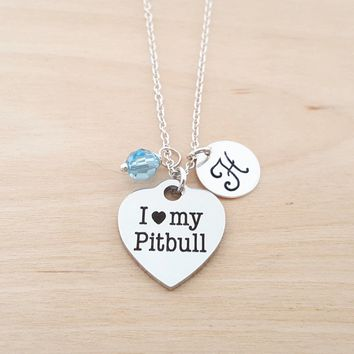 I Love My Pitbull Necklace - Swarovski Birthstone - Custom Init c2bf891878