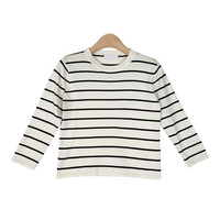 Basic Striped Knit Top with Three-Quarter Sleeves