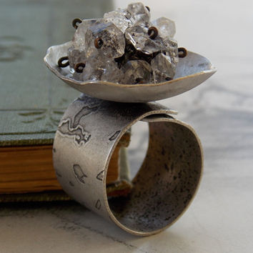 Herkimer Diamond Crystal Quartz Ring, Domed Ring, Wide Band, Antique Silver, Adjustable, Modern, Steampunk. Statement Ring