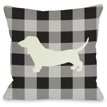 """Gingham Dachshund"" Indoor Throw Pillow by OneBellaCasa, 16""x16"""