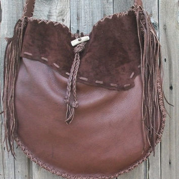 Chocolate brown leather drum bag Large brown leather tote Fringed designer handbag