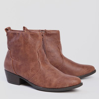 Tara Distressed Booties In Tan