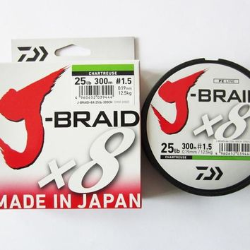 100% Original DAIWA J BRAID X8 Braind fishing line DARKGREEN CHARTREUSE Multi color 300M Made in Japan