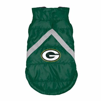 Green Bay Packers Dog Puffer Jacket Coat NFL Football License Fleece Lined
