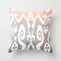 ikat in pony bark Throw Pillow by Miranda J. Friedman | Society6