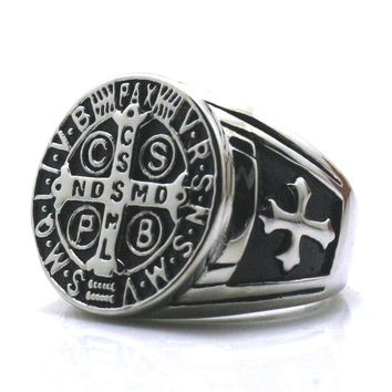CSPB CSSML NDSMD Unisex 316L Stainless Steel Saint Benedict of Nursia Catholic Church Christianity Jesus Exorcism Ring