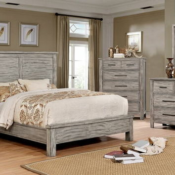 5 pc Canopus collection antique gray finish wood panel headboard queen bedroom set