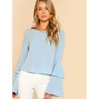 Layered Bell Sleeve Top Blue