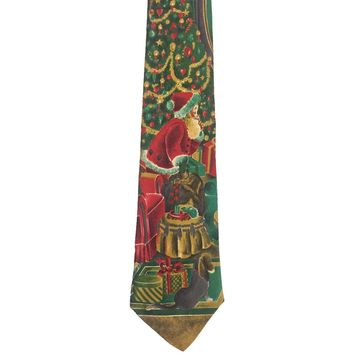 Rooster Novelty Wide Silk Christmas Tie - Green