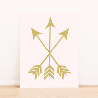 Arrows Peach and Gold Print PRINTABLE ART Dorm Decor Apartment Art Bathroom Art