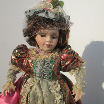 Victorian Porcelain Doll with Hair Fascinator