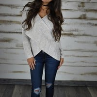 Overlap Sweater- Oatmeal - Thirty One Boutique