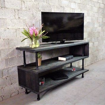 Tucson Modern Industrial TV Stand In Black Steel Combo With Dark Brown Stained Wood