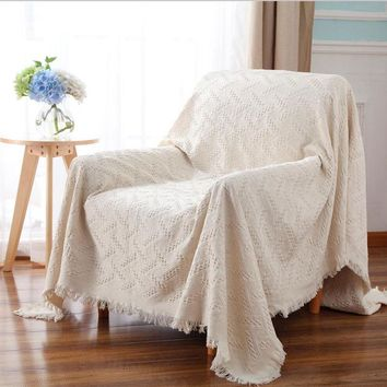 Tassels Cotton Sofa Office Blanket Office Nap Cover Quilt Soft Knitted Crochet Plaid on the bed Beach Towel Scarf