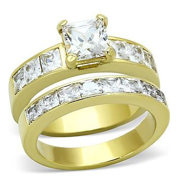 14K Yellow Gold 1.1CT Princess Cut Russian Lab Diamond Bridal Set