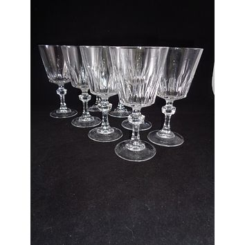 Crystal Wine Goblets With Faceted Ball Stems  S/8