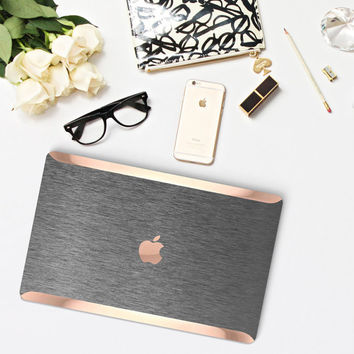 Platinum Edition Brushed Metal with Rose Gold Edge Detailing Hybrid Hard Case for Apple Macbook Air & Mac Pro 13 Retina, Macbook 12