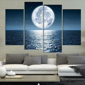 4 Panel Bright Moon Shining On The Ocean Wall Art Canvas Picture For Living Room