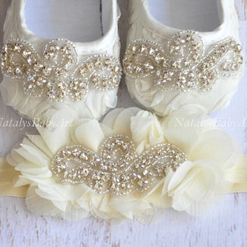 Baby Girl shoes and Headband Crystal SET Christening Wedding Baby Girl shoes Girl crib shoes  Crystal baby shoes Baptism baby girl shoes